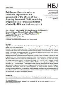 HEJ article - Building resilience to adverse childhood experiences